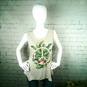 NWT Jessica Simpson graphic tank top tropical prnt